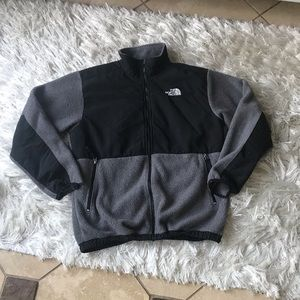 North face black and gray jacket zippered pockets